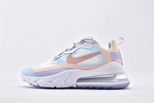 "Nike Air Max 270 React ""BAUHAUS"" 半小掌气垫气垫跑鞋/浅蓝白浅粉拼色 泡棉  芯片版  货号:CQ4805-146  女鞋"