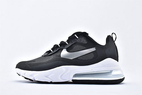 "Nike Air Max 270 React ""BAUHAUS"" 半掌小气垫气垫跑鞋/黑白银 拼色 泡棉  芯片版  货号:CQ4598-071  男鞋"