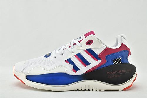 Adidas 三叶草 ZXALKYNEBoost 2020新款爆米花跑鞋/白蓝红 【180款】  原装版  货号:FV9506  男女鞋  情侣款