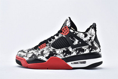 Air Jordan AJ4 乔丹4代篮球鞋/涂鸦 纹身 中国水墨 纯头层  纯原版  货号:BQ0897-008  男鞋