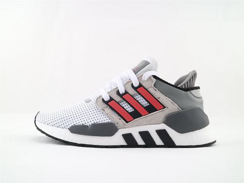 Adidas EQT Support 91/18 BOOST 复古爆米花跑鞋/灰白黑红 货  货号:B37521  男女鞋  情侣款