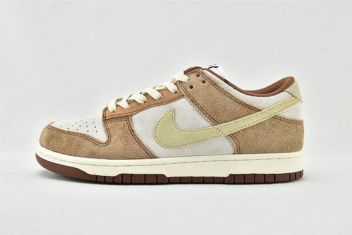 Nike Dunk Low PRM Curry SB 低帮滑板鞋/米白棕 咖喱 摩卡 麂皮  货号:DD1390-100   男女鞋  情侣款