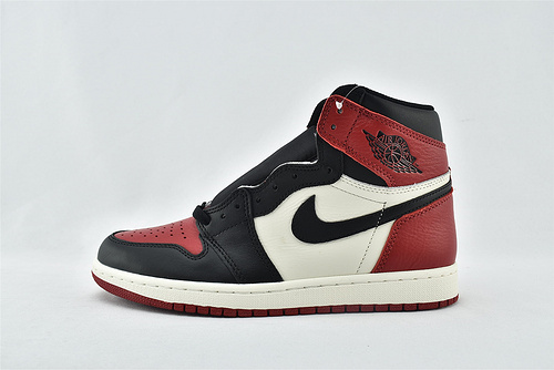 Air Jordan 1 Retro Bred Toe AJ1 乔丹1代高帮篮球鞋/黑红脚趾 2.0  原装  货号:555088-610  男女鞋  情侣款