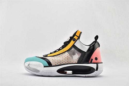 Air Jordan XXXIVPF 34 AJ34 乔丹34代篮球鞋/郭艾伦 糖果色 黑白粉绿黄 拼色 灭世版  货号:CZ7748-100  男鞋