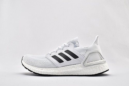 Adidas ULTRA BOOST UB 20 米花缓震跑鞋/浅灰白黑  货号:EG0783  男女鞋  情侣款