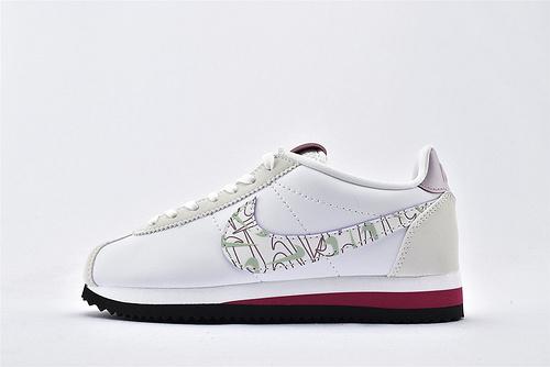 Nike Classic Cortez阿甘系列跑鞋/情人节 浅灰白 涂鸦logo  纯原版  货号:CI7854-100  男女鞋  情侣款