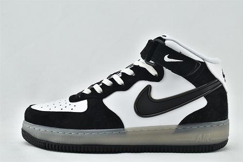 Nike Air Force 1 空军一号/中帮 黑白 果冻logo 秋冬新款  货号:BC9825-101    男女鞋  情侣款