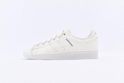 Adidas 三叶草 Superstar 贝壳头帆布系列/米白 水晶果冻底  货号:S82587  男女鞋  情侣款