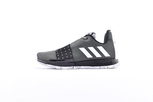 Adidas Harden Vol. 3 Boost 哈登3代爆米花篮球鞋/黑白 缓震效果显著 实战无忧 高端篮球鞋  货号:G54766  男鞋