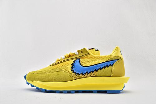 Sacai x Nike LVD Waffle Daybreak 联名走秀款解构高端跑鞋/网纱透明 小熊 黄蓝拼色 华夫款  货号:BV5378-700  男女鞋  情侣款