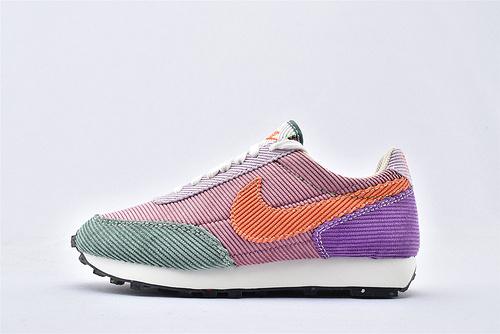 Nike DayBreak 华夫复古轻量跑鞋/灯芯绒 红绿紫橘拼色 原黑盒原标 市场版本 随意对比  货号:DA1471-683  女鞋