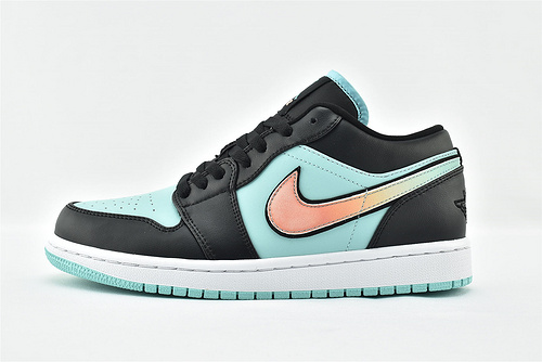 Air Jordan 1 AJ1乔丹1代低帮篮球鞋系列/黑绿 渐变勾  货号:CK3022-301   男女鞋  情侣款