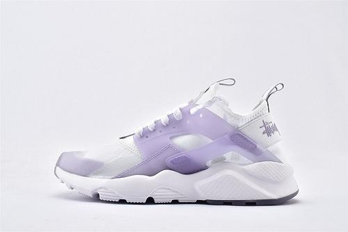 Nike Air Huarache Run Ultra 华莱士4.0系列跑鞋/白紫 果冻 网纱透明款 2020夏季新款  货号:875868-005  男女鞋  情侣款