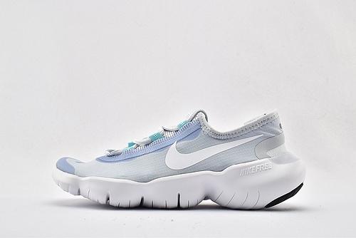 Nike Free RN 5.0 赤足缓震跑鞋/浅蓝白经典 原盒原标 分离式大底 透气网面 2020最新款  货号:CJ0270-401  女鞋