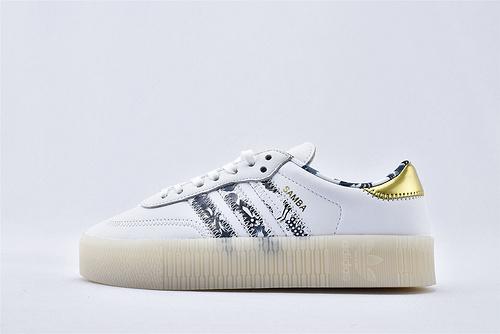 Adidas 三叶草 AMBAROSE W 女子经典厚底板鞋/全白 蓝迷彩 金尾 水晶透明底 原盒原标 全头层软皮  货号:FW5345  女鞋