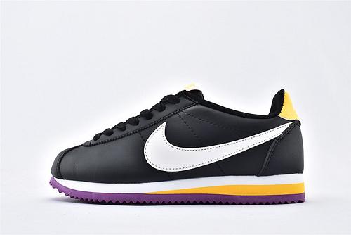 Nike Classic Cortez阿甘系列跑鞋/黑白黄紫拼色 货号:807471-022  女鞋