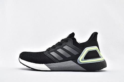Adidas ULTRA BOOST UB 20 米花缓震跑鞋/黑白灰绿拼色  货号:FY3452  男鞋