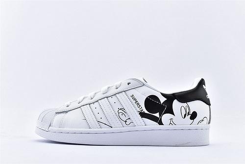 Adidas 三叶草 Superstar 贝壳头板鞋/联名米奇 白黑 迪斯尼联名米老鼠  货号:FW2985  男女鞋  情侣款