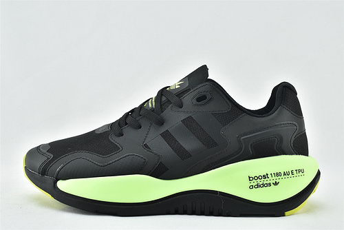 Adidas 三叶草 ZXALKYNEBoost 2020新款爆米花跑鞋/黑绿【180款】 原装版  货号:FY3023   男鞋