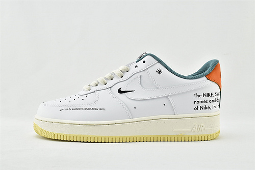 Nike Air Force 1 空军一号/低帮 双钩 白绿橙 刺绣   货号:DM0970-111   男女鞋 情侣款