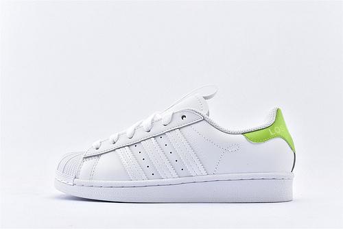 Adidas 三叶草 Superstar 贝壳头板鞋/城市限定 洛杉矶 2020春夏新款 全白绿尾 鸳鸯  货号:FW3922  男女鞋  情侣款