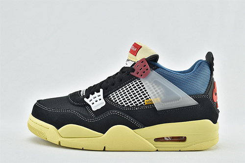 Air Jordan 4  x Union AJ4 乔丹4代联名篮球鞋/联名骑士381 黑蓝氧化  纯原版    货号:DC9533-001   男女鞋   情侣款