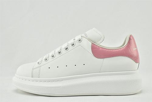 Alexander McQueen/亚历山大麦昆 松糕鞋厚底增高小白鞋/全白 粉尾 皮面石头纹  芯片 扫码 版  男鞋