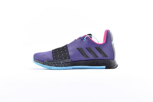 Adidas Harden Vol. 3 Boost 哈登3代爆米花篮球鞋/黑紫 缓震效果显著 实战无忧 高端篮球鞋 货号:G54768  男鞋