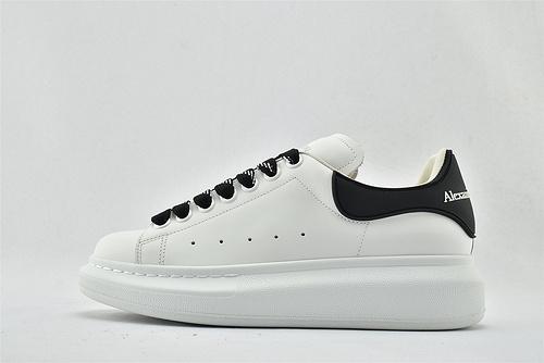 Alexander McQueen/亚历山大麦昆 松糕鞋厚底增高小白鞋/全白 黑尾黑带 字母  芯片 扫码 版