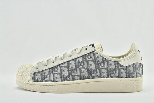 Adidas 三叶草 Superstar x 迪奥/Dior 联名贝壳头板鞋/米黄灰  货号:166921  男女鞋  情侣款