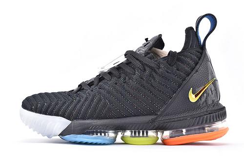 Nike Lebron 16 LBJ16 詹姆斯16代篮球鞋/慈善 黑彩虹  原装版  货号:AO2595-004  男鞋