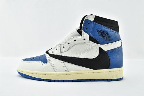 Air Jordan 1 AJ1 Low 乔丹1代高帮篮球鞋/藤原浩 联名款 闪电 反钩 黑白蓝 鬼脸 刺绣 2021最新发售  货号:DH3227-105  男女鞋  情侣款