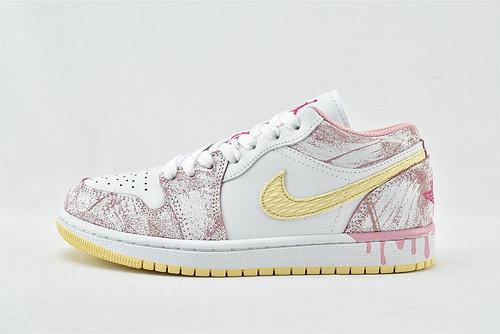 Air Jordan 1 AJ1 Low AJ1 乔丹1代低帮篮球鞋/冰激凌 白粉 少女粉  货号:CW7104-601  女鞋