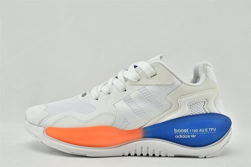 Adidas 三叶草 ZXALKYNEBoost 2020新款爆米花跑鞋/白橙蓝 【180款】 原装版   货号:FV2315    男女鞋  情侣款