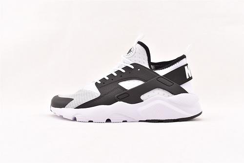 Nike Air Huarache Run Ultra 华莱士4.0系列跑鞋/黑白暗格网面版  货号:847569-101   男女鞋  情侣款