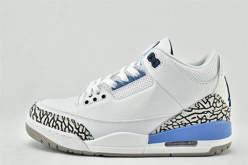Air Jordan 3 Retro AJ3 乔丹3代篮球鞋/ UNC 白蓝 北卡蓝 爆裂纹   全头层   货号:CT8532-104  男女鞋  情侣款