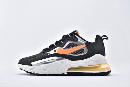"Nike Air Max 270 React ""BAUHAUS"" 半小掌气垫气垫跑鞋/黑白银橙  拼色 泡棉  芯片版 货号:CQ4598-084  男鞋"