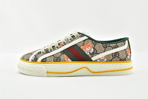 Gucci/古驰 2021新款发售 经典帆布板鞋/小熊 全套包装  升级版 芯片  女鞋