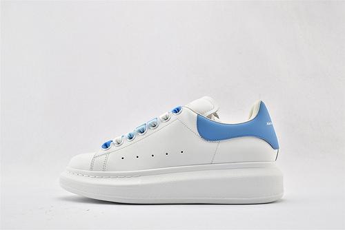 Alexander McQueen/亚历山大麦昆 松糕鞋厚底增高小白鞋/全白 蓝尾丝绸   芯片 扫码 版  女鞋
