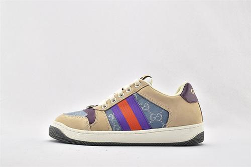 Gucci/古驰 小脏鞋 系列板鞋/灰紫蓝 经典 原版自然做旧 发售    芯片 扫码版 版  男女鞋  情侣款