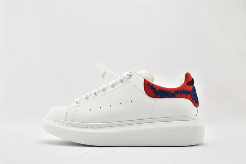 Alexander McQueen/亚历山大麦昆 松糕鞋厚底增高小白鞋/全白 大红尾 刺绣  男女鞋  情侣款