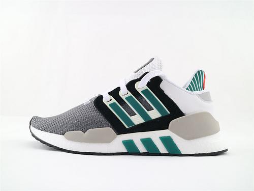 Adidas EQT Support 91/18 BOOST 复古爆米花跑鞋/灰白黑绿 货  货号:AQ1037  男女鞋  情侣款