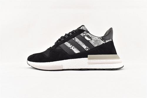 Adidas ZX500 Boost 爆米花缓震跑鞋/鳄鱼纹 黑白  货号:BD7924   男女鞋  情侣款