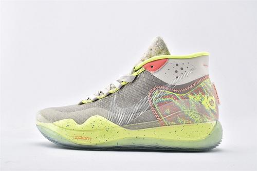 Nike ZOOM KD12 EP 杜兰特12代高端篮球鞋/灰荧光绿【实战版】 纯原版  货号:AR4230-001 男鞋