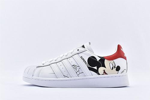 Adidas 三叶草 Superstar 贝壳头板鞋/联名米奇 白红 迪斯尼联名米老鼠 头层版   货号:FW2901  男女鞋  情侣款