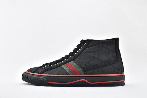 Gucci/古驰 Gucci 鼠年限定款 2020最新发售 经典帆布高帮板鞋/黑红绿 经典配色  男女鞋  情侣款