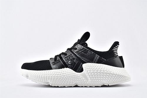 Adidas 三叶草 Prophere 复古跑鞋/刺猬 黑白印花 原盒原标  货号:FV4535  男女鞋  情侣款