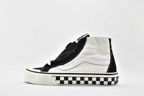 Vans/万斯 SK8-HI  高帮滑板鞋/白黑 格子底 硫化底 原标原盒   男女鞋  情侣款