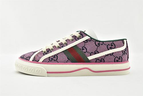 Gucci/古驰 2021新款发售 经典帆布板鞋/紫色 印花  男女鞋  情侣款