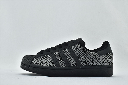 Adidas 三叶草 Superstar 贝壳头板鞋/蛇纹 黑色 黑曼巴 3M反光版 原标原盒   货号:FY6014    男女鞋  情侣款